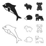 Rhino, koala, panther, hedgehog.Animal set collection icons in black,outline style vector symbol stock illustration web. Rhino, koala, panther, hedgehog.Animal royalty free illustration