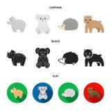 Rhino, koala, panther, hedgehog.Animal set collection icons in cartoon,black,flat style vector symbol stock illustration.  stock illustration