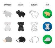 Rhino, koala, panther, hedgehog.Animal set collection icons in cartoon,black,outline,flat style vector symbol stock. Illustration royalty free illustration