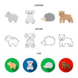 Rhino, koala, panther, hedgehog.Animal set collection icons in cartoon,outline,flat style vector symbol stock. Illustration stock illustration
