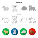 Rhino, koala, panther, hedgehog.Animal set collection icons in flat,outline,monochrome style vector symbol stock. Illustration vector illustration