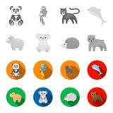 Rhino, koala, panther, hedgehog.Animal set collection icons in monochrome,flat style vector symbol stock illustration.  vector illustration