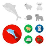Rhino, koala, panther, hedgehog.Animal set collection icons in monochrome,flat style vector symbol stock illustration.  stock illustration