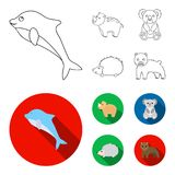 Rhino, koala, panther, hedgehog.Animal set collection icons in outline,flat style vector symbol stock illustration web. Rhino, koala, panther, hedgehog.Animal royalty free illustration