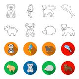 Rhino, koala, panther, hedgehog.Animal set collection icons in outline,flet style vector symbol stock illustration web. Rhino, koala, panther, hedgehog.Animal vector illustration