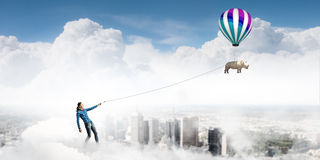 Rhino on lead. Young woman in casual and rhino flying in sky Royalty Free Stock Image
