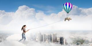 Rhino on lead Stock Image
