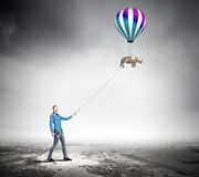 Rhino on lead Royalty Free Stock Image