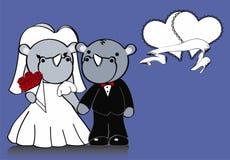 Rhino married cartoon background Stock Image