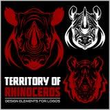 Rhino mascots set for sport teams Stock Image