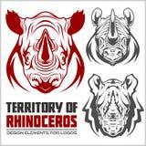 Rhino mascots set for sport teams Royalty Free Stock Image