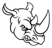 Rhino Mean Angry Sports Mascot. A rhinoceros or rhino angry mean animal sports mascot cartoon head Stock Photo