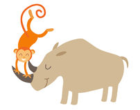 Rhino and monkey. Vector illustration,  Royalty Free Stock Photo
