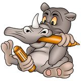 Rhino Painter. Smiling cartoon illustration as vector Stock Images