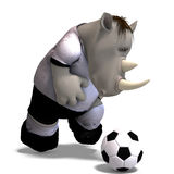 Rhino plays soccer / football Stock Images