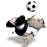 Rhino plays soccer / football Royalty Free Stock Image