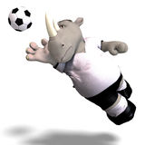 Rhino plays soccer / football Royalty Free Stock Photos