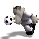 Rhino plays soccer / football. Funny rhino plays soccer. With Clipping Path Royalty Free Stock Images