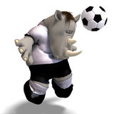 Rhino plays soccer / football Stock Photos