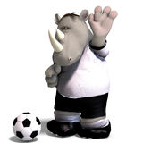 Rhino plays soccer / football Royalty Free Stock Photo
