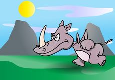Rhino rampage Royalty Free Stock Photo