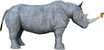 Rhino, Rhinoceros , Monarch Butterfly, Isolated Royalty Free Stock Photo