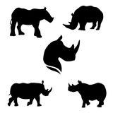 Rhino set vector. Rhino set of black silhouettes. Icons and illustrations of animals. Wild animals pattern royalty free illustration