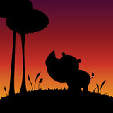 Rhino silhouette Royalty Free Stock Photography