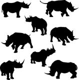 Rhino Silhouettes. A set of rhinoceros silhouette illustrations Stock Photos