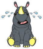 Rhino sit and cry. Sad rhinoceros sit and cry around his tears Stock Photos