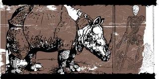 Rhino and skeleton Stock Photo