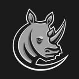Rhino sport logo vector illustration. Logotype template for mascot team. Rhinoceros head. Stock Images
