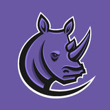 Rhino sport logo vector illustration. Logotype template for mascot team. Rhinoceros head. Royalty Free Stock Image