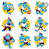 Rhino Sports Mascot Collection Set Stock Images