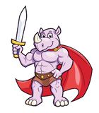 Rhino with a sword. Illustration of the strong muscular rhino with a sword Stock Photo
