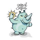 Rhino taking selfie photo on smart phone Stock Photos