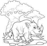 Rhino in the vast Africa. Funny rhino in the vast Africa Stock Photos