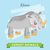 Rhino Vector, forest animals. Royalty Free Stock Photo