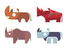Rhino vector. Rhino, rhinoceros - isolated vector icons on white background. Different variants. Can be used as logo stock illustration