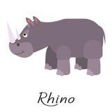 Rhino wild cartoon animal vector on white. Stock Photo