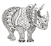 Rhino zentangle stylized, vector, illustration, freehand pencil, Royalty Free Stock Photography