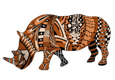 Rhino zentangle stylized, vector, illustration, freehand pencil, Royalty Free Stock Images