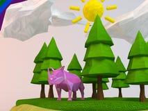 rhinocéros 3d à l'intérieur d'une bas-poly scène verte Photos libres de droits