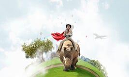 Rhinocéros d'équitation de femme d'affaires Media mélangé Image stock