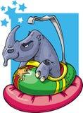 Rhinocéros dans le véhicule de butoir Images stock