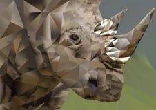 Rhinocéros de blanc de polygone Images stock