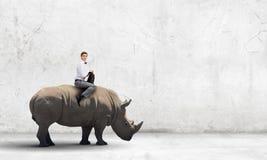 Rhinocéros de sellage d'homme images stock