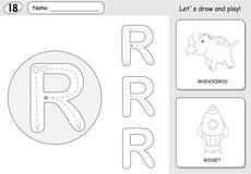 Rhinocéros et fusée de bande dessinée Fiche de travail de découverte d'alphabet : writi Image stock