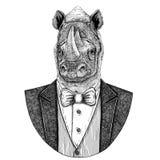 Rhinocéros, illustration tirée par la main animale de hippie de rhinocéros pour le tatouage, emblème, insigne, logo, correction,  photo stock