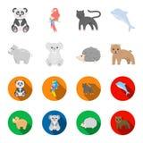 Rhinocéros, koala, panthère, hérisson Icônes réglées de collection d'animal dans la bande dessinée, Web plat d'illustration d'act Photographie stock libre de droits